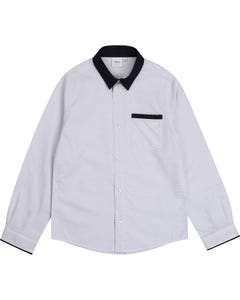 Hugo Boss Boys Shirt White Navy Collar And Dot Print Long Sleeve Size 4-16 | Kids Formal Wear 25G54 White