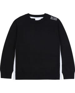 Hugo Boss Boys Pullover Black Knit White Boss Logo Size 4-16 | Toddler Boy Sweaters 25G57 Black