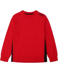 Hugo Boss Boys Pullover Red Knit Black Logo Size 4-16 | Toddler Boy Sweaters 25G57 Red