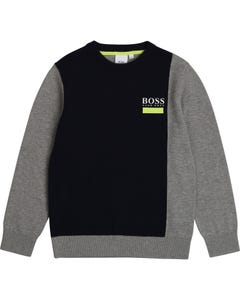 Hugo Boss Boys Pullover Navy & Grey Size 4-16 | Baby Boy Sweaters 25G58 Navy