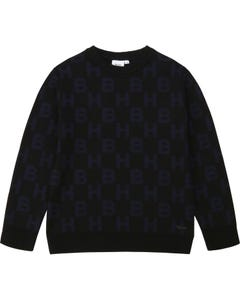 Hugo Boss Boys Pullover Black B & H Navy Print Size 4-16 | Boys Sweaters 25G61 Black
