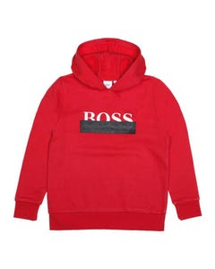 SWEATSHIRT RED HOODED