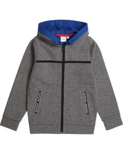 Hugo Boss Boys Cardigan Grey Speck Hooded Blue Lining Size 4-16 | Toddler Boy Sweaters 25G79 Grey