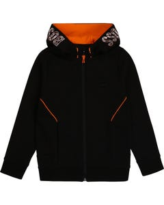 Hugo Boss Boys Sweat Cardigan Black Hooded Orange Lining Size 4-16 | Kids Sweaters Boys 25G81 Black