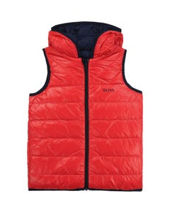 Hugo Boss Boys Vest Puffer Reversible Red And Navy Size 4-12 | Outerwear For Boys 26415 Red