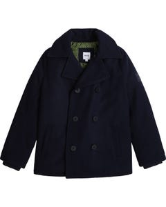 Hugo Boss Boys Parka Navy Wool Coat Double Breasted Size 8-16 | Outerwear For Baby Boys 26426 Navy