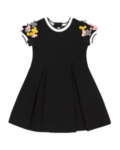 Deux par Deux Girls Dress Black Flower Applique Neoprene Short Sleeve Size 3-14 | Girls Party Dresses 20N92 Black