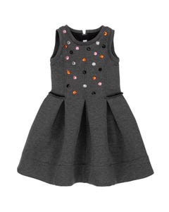 Deux par Deux Girls Dress Grey Jewels & Pleated Neoprene Sleeveless Size 3-14 | Baby Girl Dresses 20N96 Grey