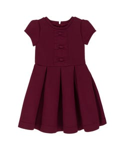 Deux par Deux Girls Dress Dark Red Neoprene With Bows Short Sleeve Size 3-14 | Girls Party Dresses 20N98 Red
