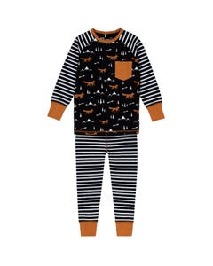 Deux par Deux Boys 2 Pc Pyjama Black & White Stripe Brown Fox Print & Trim Size 2-12 | Toddler Pyjamas 20PB11 Black