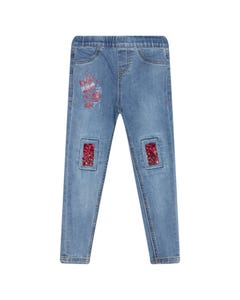 JEAN DENIM RED SEQUIN PATCHES