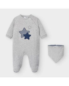 Mayoral Boys 2 Pc Sleeper & Bib Grey Navy Star Applique Side Closure Size 0m-18m | Toddler Sleepers 2769 Grey