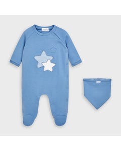 Mayoral Boys 2 Pc Sleeper & Bib Blue White & Striped Star Applique Side Closure Size 0m-18m | Baby Sleeper Suits 2769 Blue
