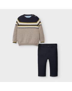 Mayoral Boys 2Pc Top & Pant Navy Pant Tan Sweater With Navy Stripe Size 6m-36m | Two Piece Outfits For Babies 2586 Navy