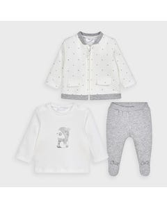 Mayoral Boys 3 Pc Tracksuit White & Grey Zip Cardigan Size 0m-18m | Two Piece Outfits For Babies 2641 Grey