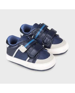 Mayoral Boys Shoe Navy 2 Velcro Straps Grey & White Trim Size 15-19 | Shoes For Infants 9333 Navy