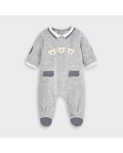 Mayoral Boys Sleeper Grey Velour Navy Check Pocket & Sleeve Patch Bear Applique Size 0m-18m | Toddler Sleepers 2767 Grey