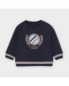 Mayoral Boys Sweater Navy Grey Crest Logo & Trim Size 6m-36m | Sweaters For Babies 2474 Navy