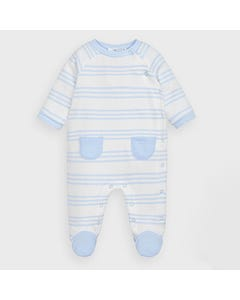 2 PC SLEEPER & BIB WHITE BLUE STRIPE