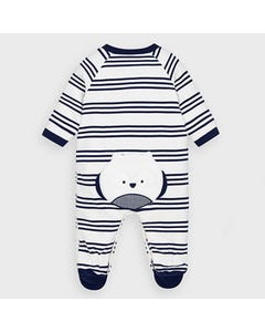 Mayoral Boys Sleeper & Bib White & Navy Stripe Size 0m-18m | Sleepers Kids 2763 Stripe
