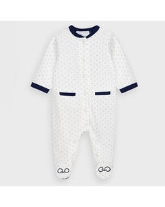 Mayoral Boys Sleeper White Navy Dots Front Closure Size 0m-18m | Sleepers Kids 2763 White
