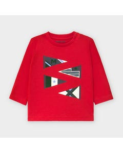 Mayoral Boys Tshirt Red Flag Print Long Sleeve Size 6m-36m | Baby Shirts 2039 Red