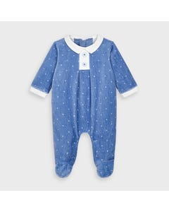 Mayoral Boys Sleeper Blue White Collar & Star Print Velour Size 0m-18m | Baby Sleeper Suits 2765 Blue
