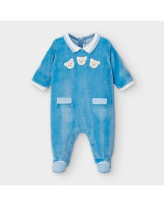 Mayoral Boys Sleeper Blue Velour Check Print Trim Bear Applique Size 0m-18m | Baby Sleepers 2767 Blue