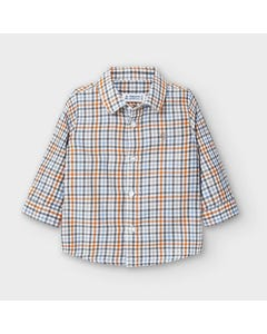 Mayoral Boys Shirt Check Orange Multi Colored Size 6m-36m | Baby T Shirts 2133 Plaid