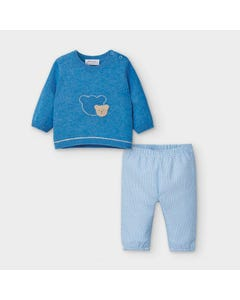 Mayoral Boys 2 Pc Top & Pant Blue & Check Pant Bear Applique Size 0m-18m | Two Piece Outfits For Babies 2557 Blue