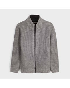Mayoral Boys Cardigan Grey Knit Cable Stitch Black Zip Closure Size 8-18 | Toddler Boy Sweaters 7339 Grey
