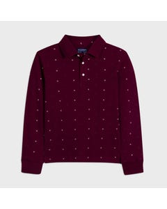 Mayoral Boys Polo Top Burgundy White Print Long Sleeve Size 8-18 | Boys School Shirts 7122 Red