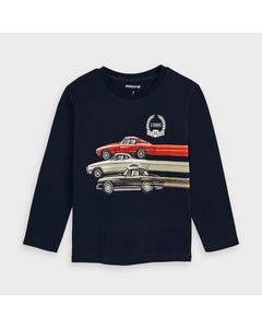 Mayoral Boys Tshirt Navy 3 Cars 1986 Logo Long Sleeve Size 2-9 | Boys Shirts 4038 Navy