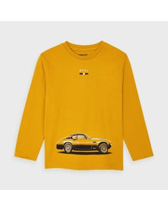 Mayoral Boys Tshirt Gold Car Logo Long Sleeve Size 2-9 | Boys School Shirts 4046 Gold