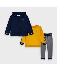 Mayoral Boys 3Pc Cardigan & Sweattop & Pant Navy Gold & Grey Hooded Size 2-9 | Boys Co Ord Sets 4819 Navy