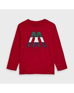 Mayoral Boys Tshirt Red Letter M Long Sleeve Size 2-9 | Boys Designer Shirts 4040 Red