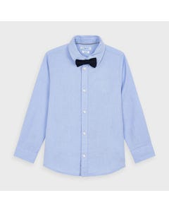 Mayoral Boys 2 Pc Shirt & Bowtie Blue & Navy Long Sleeve Size 2-9 | Boys Co Ord Sets 4139 Blue