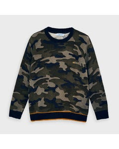 Mayoral Boys Sweater Brown & Navy Camouflage Size 2-9 | Boys Sweater Vest 4327 Navy