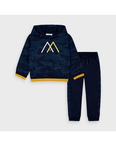 Mayoral Boys 2Pc Tracksuit Navy White & Yellow M Print Hooded Size 2-9 | Boys Sweatpants 4816 Navy
