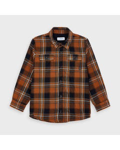 Mayoral Boys Shirt Gold & Navy Plaid Twill Long Sleeve 2 Pockets Size 2-9 | Boys Designer Shirts 4138 Plaid