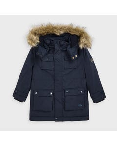 Mayoral Boys Parka Navy Hooded Removable Fur Collar Size 2-9 | Toddler Boy Coats 4472 Navy
