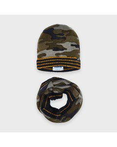 Mayoral Boys 2Pc Hat & Neck Warmer Navy Camouflage Set Size 4-16 | Boys Outerwear 10892 Navy