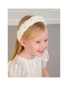 Abel & Lula Girls Headband Cream Velour Pearl Trim Braided Size OS | Toddler Girl Hair Accessories 5926 Ivory