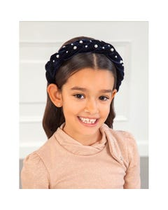 Abel & Lula Girls Headband Navy Velour Braided Pearl Trim Size OS | Baby Girl Hair Accessories 5926 Navy