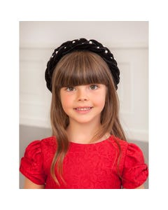 Abel & Lula Girls Headband Black Braided Pearl Trim Size OS | Girls Hair Accessories Set 5926 Black