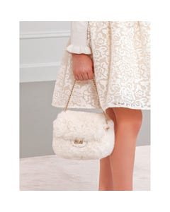 Abel & Lula Girls Purse Cream Faux Fur Size OS | Girls Purses 5933 Ivory
