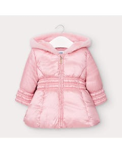 Mayoral Girls Coat Pink Hooded Padded Faux Fur Trim Size 6m-36m | Jackets For Babies 2415 Pink