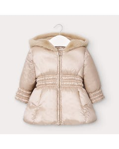 Mayoral Girls Coat Beige Hooded Padded Faux Fur Trim Size 6m-36m | Baby Coats 2415 Beige