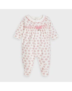 Mayoral Girls Sleeper White & Pink Print & Smocking Size 1m-12m | Sleepers Kids 2756 White