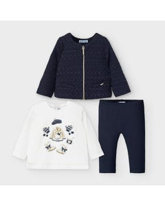 Mayoral Girls 3 Pc Cardigan Legging Set Navy & White Size 6m-36m | Two Piece Outfits For Babies 2795 Navy